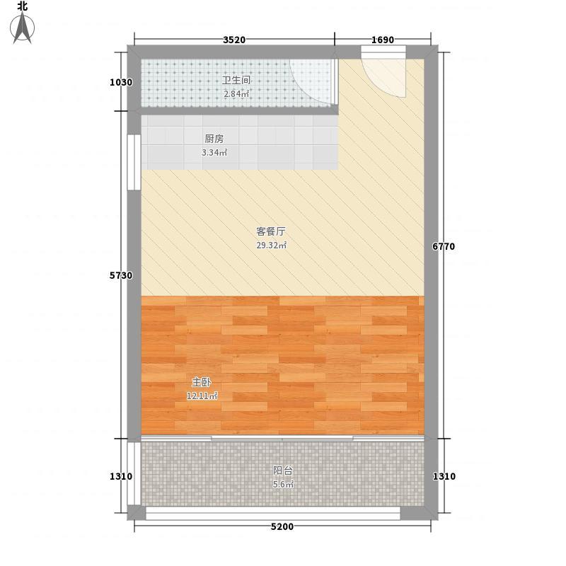 凯地怡苑53.00㎡C—1户型1室1厅1卫1厨