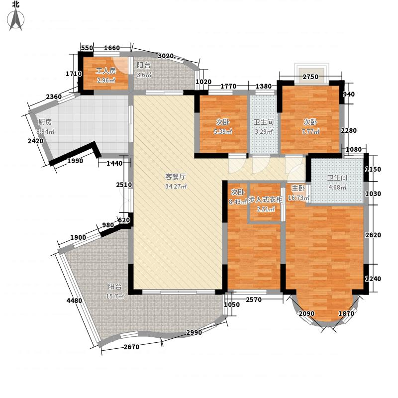 珠江帝景湾163.00㎡一期凯怡庭EH座/凯盛庭JK座户型5室2厅2卫