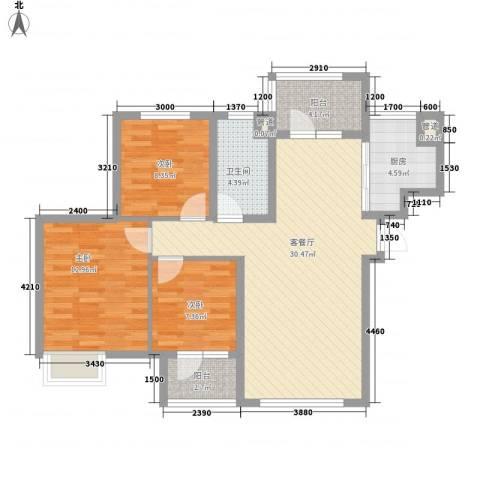 「大连天地」悦翠台3室1厅1卫1厨109.00㎡户型图