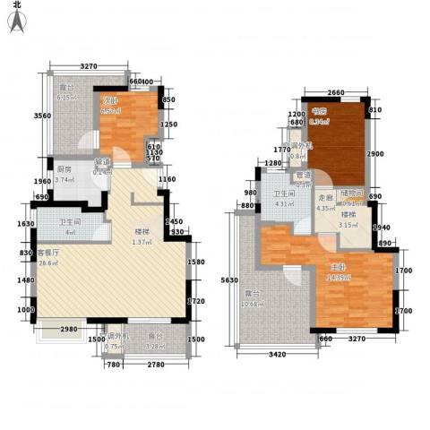 万科尚源3室1厅2卫1厨137.00㎡户型图