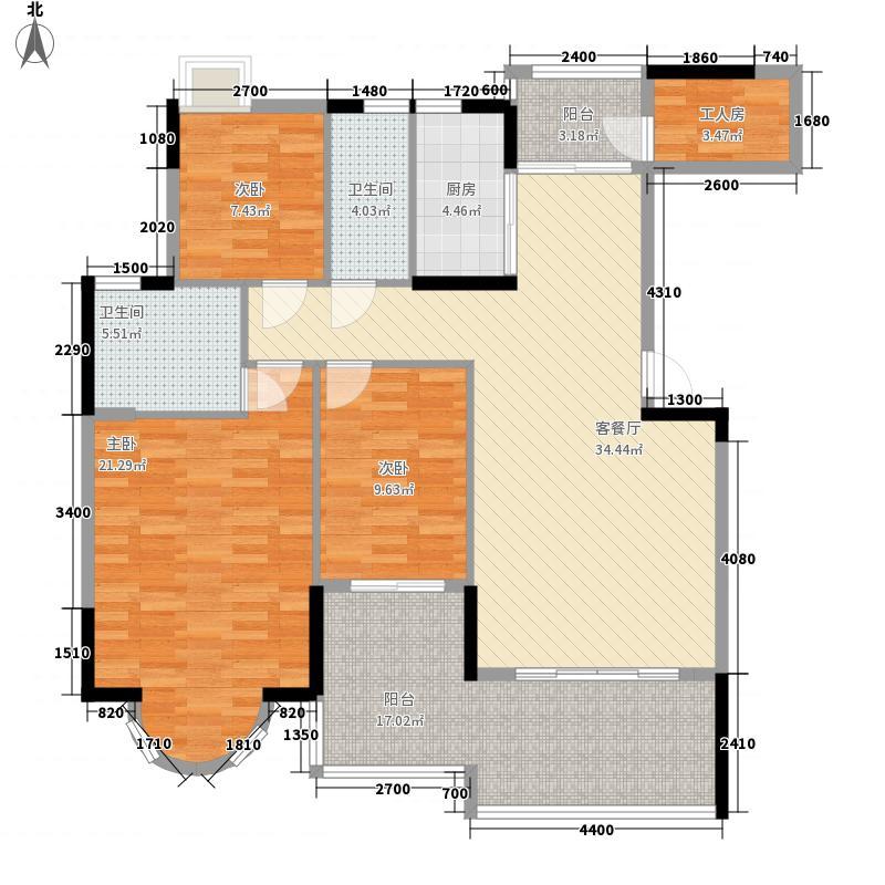 珠江帝景湾133.00㎡一期凯怡庭FGJ座/凯盛庭LMN座户型3室2厅2卫