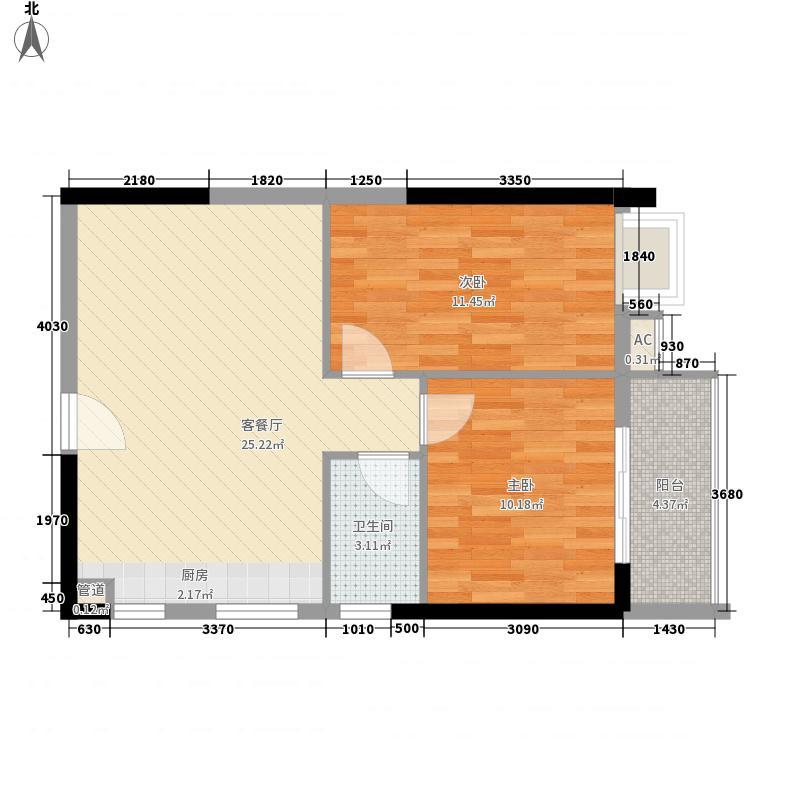 现代国度75.00㎡F户型2室2厅1卫1厨