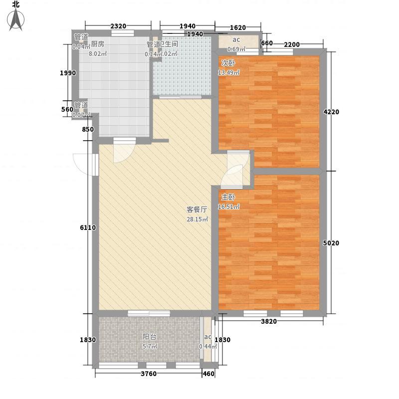 圣骊河滨苑三期110.00㎡二期3号楼C3户型2室1厅1卫1厨