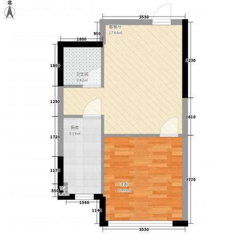 溪湖芳庭1室1厅1卫1厨55.00㎡户型图