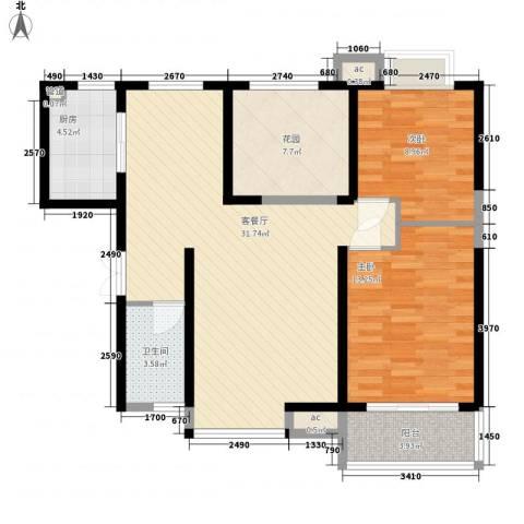 �灞1号2室1厅1卫1厨106.00㎡户型图