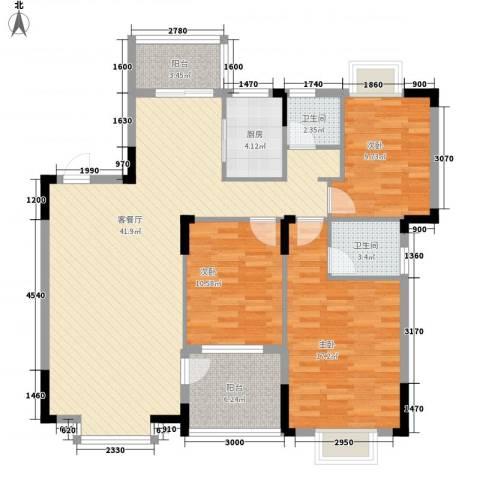 联发江岸汇景3室1厅2卫1厨118.00㎡户型图