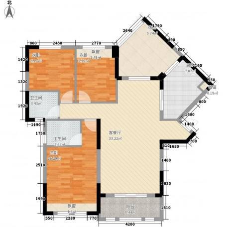 观澜御苑二期观澜御�台3室1厅2卫1厨120.00㎡户型图