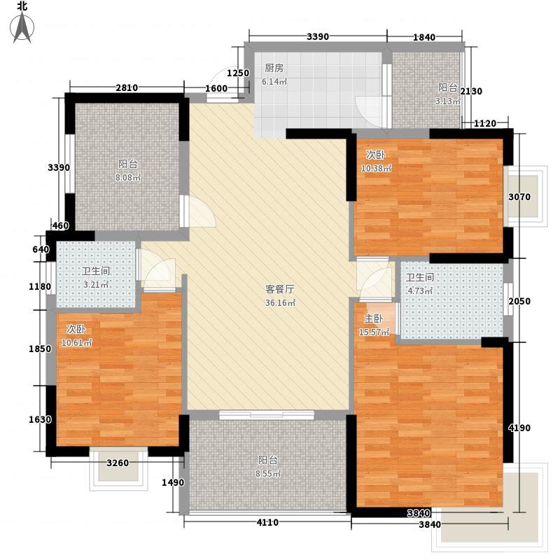 香域中央127.15㎡1#、2#E户型3室2厅2卫1厨