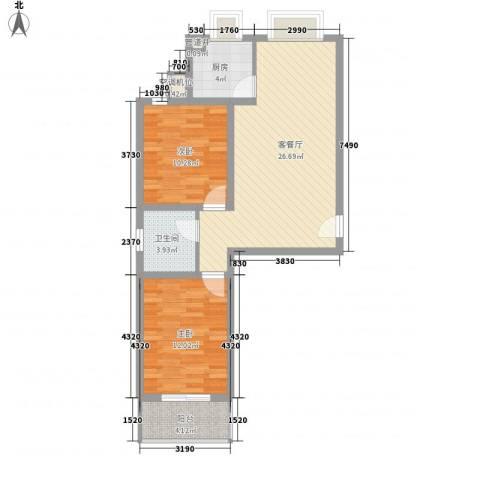 易城雅居2室1厅1卫1厨88.00㎡户型图