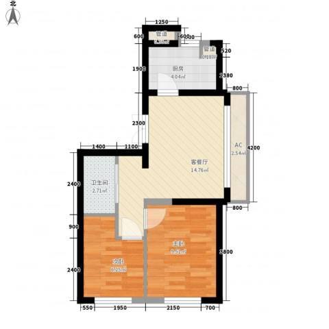 御景名都2室1厅1卫1厨65.00㎡户型图