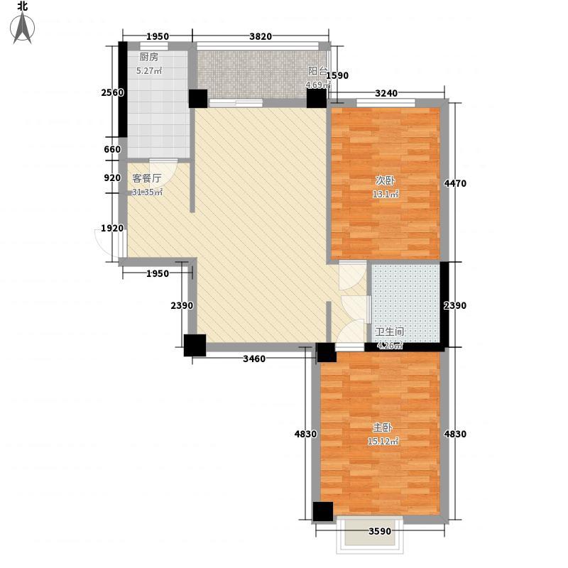 康乐花园103.80㎡4、5号楼西单元东户户型2室2厅1卫1厨