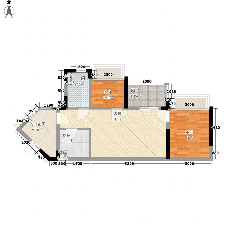 万科金域东郡63.00㎡万科金域东郡户型图D-12室2厅1卫1厨户型2室2厅1卫1厨
