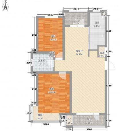 九洲湾景汇2室1厅1卫1厨99.00㎡户型图