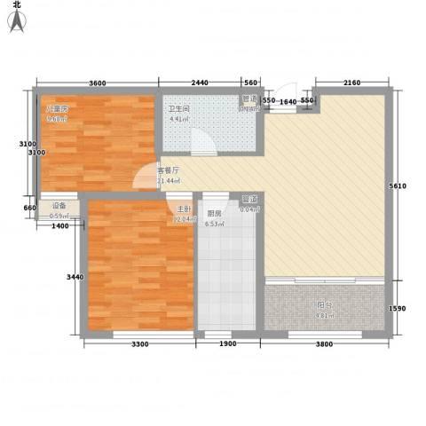 华创观礼中心2室1厅1卫1厨83.00㎡户型图