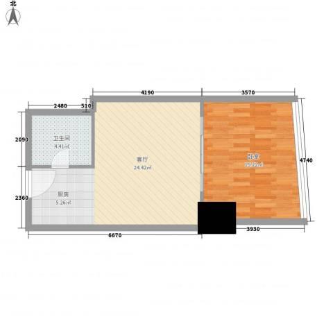 新街口苏宁生活广场1厅1卫0厨49.60㎡户型图