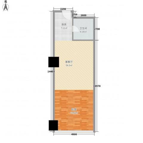 新街口苏宁生活广场1厅1卫0厨68.80㎡户型图