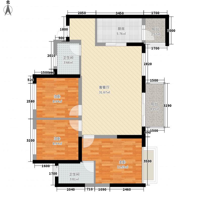 炜岸城15.00㎡三期89栋标准层A2户型3室2厅2卫1厨