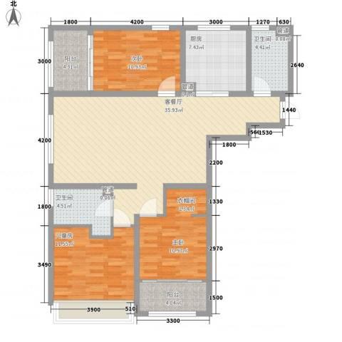 华创观礼中心3室1厅2卫1厨137.00㎡户型图