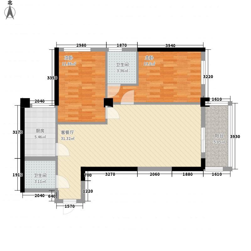 康乐花园101.94㎡8号楼东单元北户户型2室2厅2卫1厨