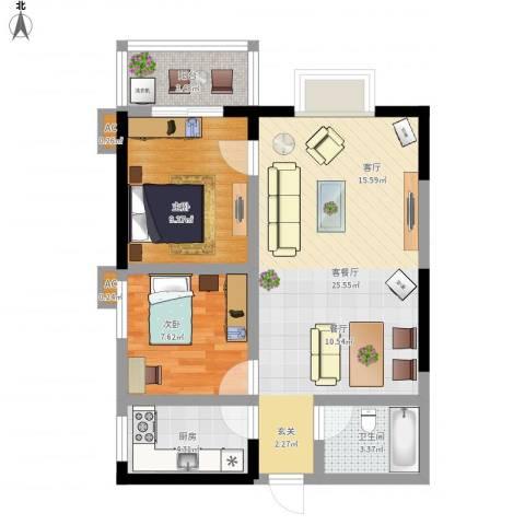 逸翠园2室1厅1卫1厨79.00㎡户型图