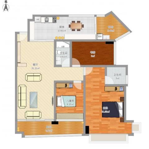 凯茵新城3室1厅2卫1厨147.00㎡户型图