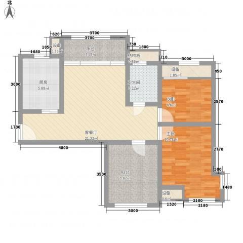 新里魏玛公馆2室1厅1卫1厨86.00㎡户型图