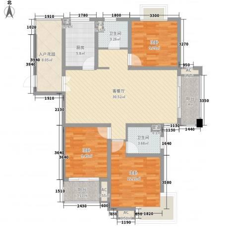 中锐山水映象3室1厅2卫1厨133.00㎡户型图