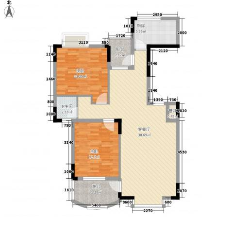 联发江岸汇景2室1厅1卫1厨103.00㎡户型图