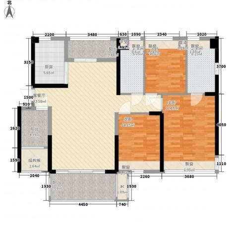 怡翠宏�3室1厅2卫1厨116.00㎡户型图