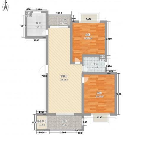 中锐山水映象2室1厅1卫1厨91.00㎡户型图