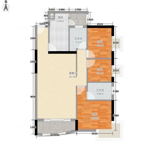 中港城3室1厅2卫1厨104.00㎡户型图