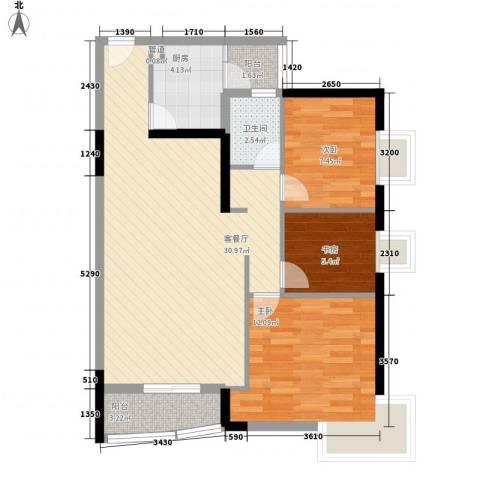 中港城3室1厅1卫1厨96.00㎡户型图