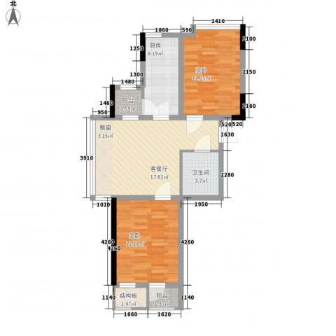 香水湾二期2室1厅1卫1厨74.00㎡户型图