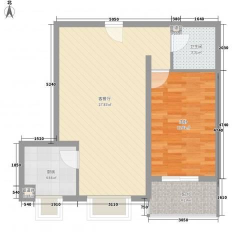 易城雅居1室1厅1卫1厨75.00㎡户型图