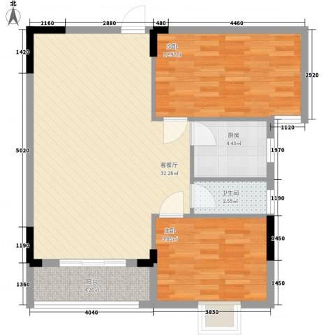 逸景雅轩2室1厅1卫1厨93.00㎡户型图