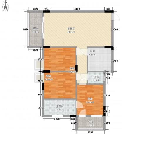 逸景雅轩3室1厅2卫1厨125.00㎡户型图