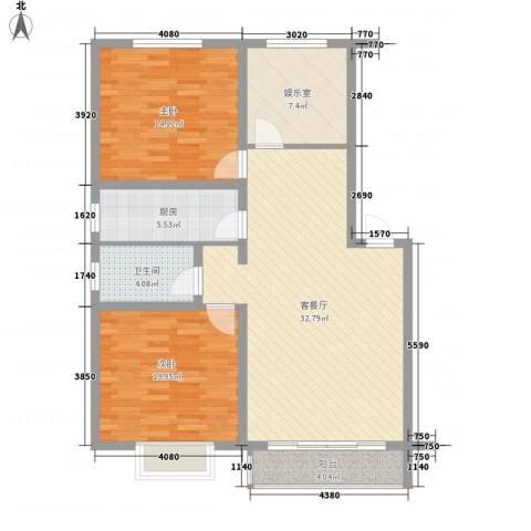旺第华府2室1厅1卫1厨116.00㎡户型图