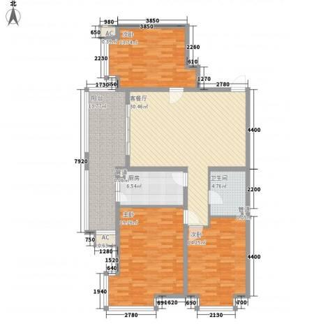 上实盛世江南3室1厅1卫1厨147.00㎡户型图