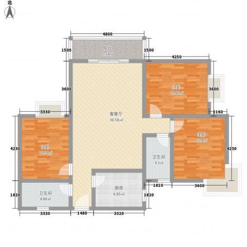 晟方佳苑3室1厅2卫1厨135.00㎡户型图