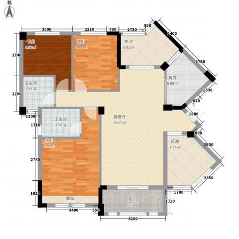 观澜御苑二期观澜御�台3室1厅2卫1厨119.00㎡户型图
