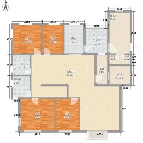 豪盛时代华城4室1厅3卫1厨152.64㎡户型图