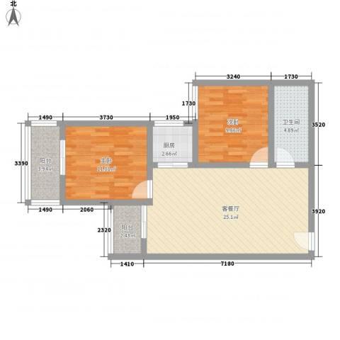 文景雅苑2室1厅1卫1厨87.00㎡户型图
