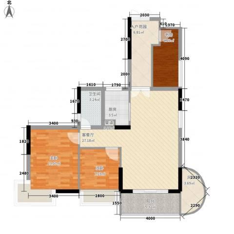 皇家公馆3室1厅1卫1厨88.00㎡户型图