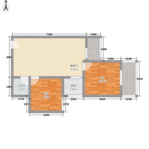 文景雅苑2室1厅1卫1厨85.00㎡户型图