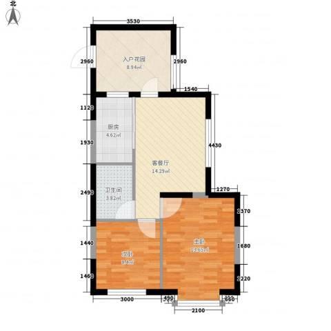 龙王塘一号2室1厅1卫1厨75.00㎡户型图