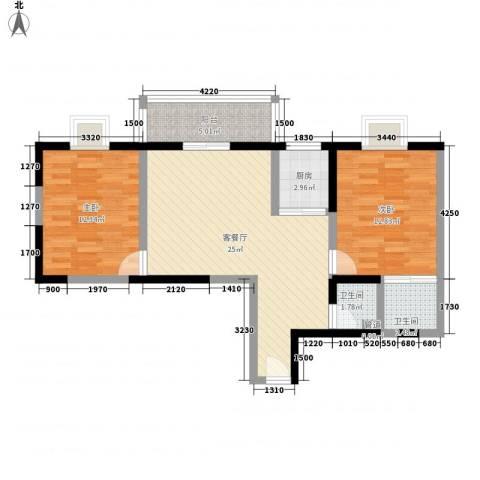文景雅苑2室1厅2卫1厨91.00㎡户型图