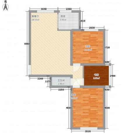 世纪春天3室1厅1卫1厨65.61㎡户型图