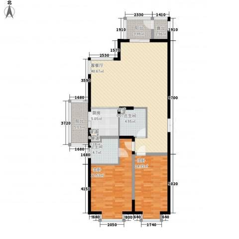 上实盛世江南2室1厅2卫1厨139.00㎡户型图