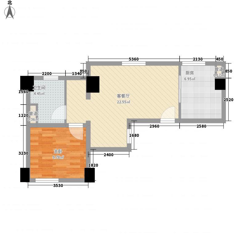 衡辰公寓65.70㎡E型户型1室2厅1卫1厨