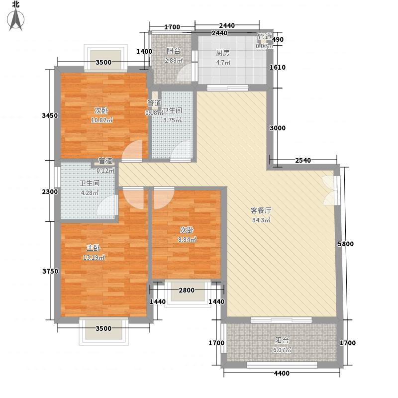 天鹅湾116.00㎡爱琴心岸10-1/10-2A型户型3室2厅2卫1厨